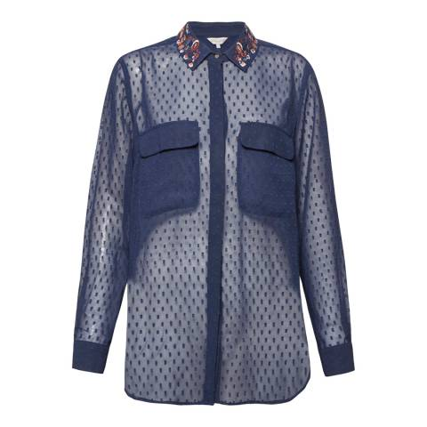 Great Plains Navy Highland Embroidery Chiffon Shirt