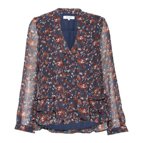 Great Plains Paprika Red Highland Floral Tassle Blouse