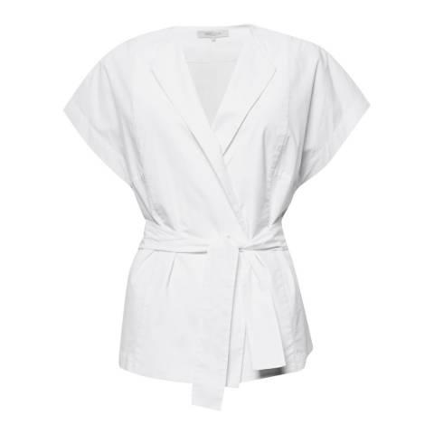 Great Plains Optic White Penny Shirting Wrap Cotton Blouse