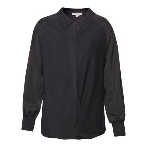 Great Plains Black Newlyn Knitted Drape Shirt