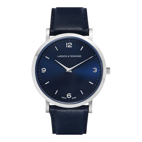 Larsson & Jennings Silver & Navy Lugano Leather Watch