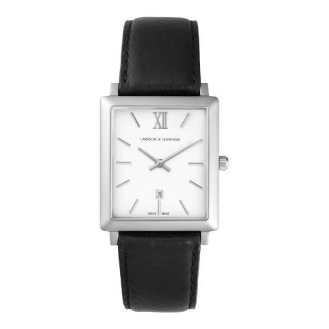 Larsson & Jennings  Silver/White Norse Leather Watch 40mm