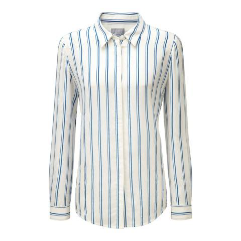 Pure Collection Cobalt Stripe Relaxed Washed Silk Blouse