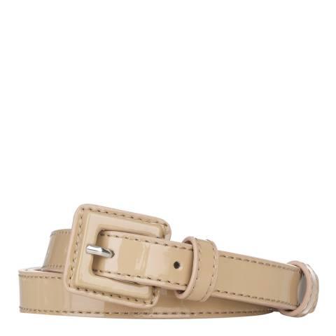 L K Bennett Taupe Geneva Patent Skinny Belt