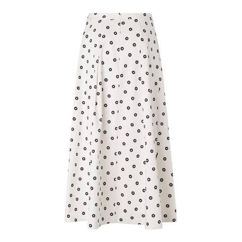 L K Bennett White/Black Octavia Cotton Skirt
