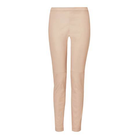 L K Bennett Powder Pink Leather Trousers