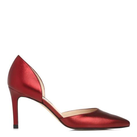 L K Bennett Bordeaux Metallic Leather Flossie Court Heels