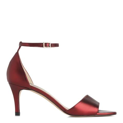 L K Bennett Bordeaux Metallic Leather Omya Sandals