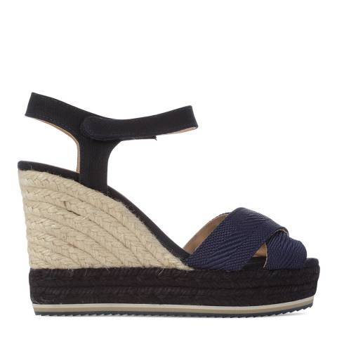 Castaner Womens Black/Navy Veronica Wedge Espadrilles