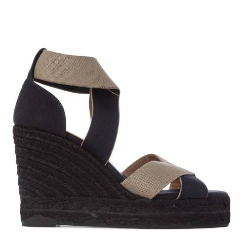 Castaner Womens Navy/Black Berenice Wedge Espadrilles