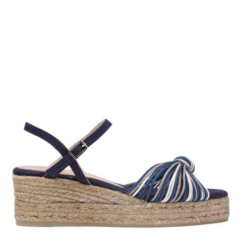 Castaner Womens Navy Azul Knot Wedge Sandals