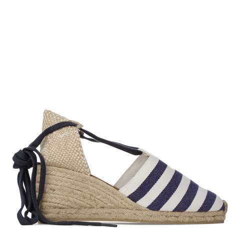 Castaner Womens Navy Stripe Cotton Campesina Wedge Espadrilles