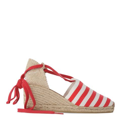 Castaner Womens Red Stripe Print Campesina Wedge Espadrilles