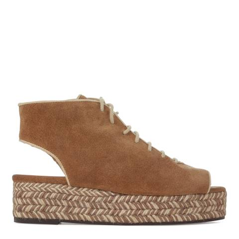 Castaner Womens Taupe Suede Aura Lace Up Sandals