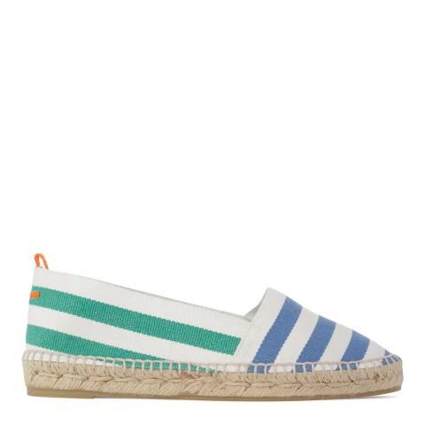 Castaner Womens Blue/Green Kamping Stripe Flat Espadrilles