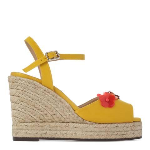 Castaner Womens Yellow Beso Flower Platform Espadrilles