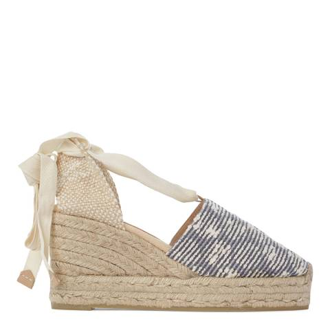 Castaner Womens Blue Campia Wedge Espadrilles