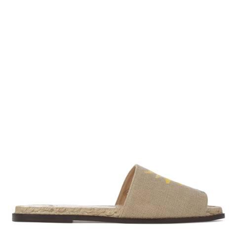 Castaner Womens Sand Juana Linen Flat Sandals