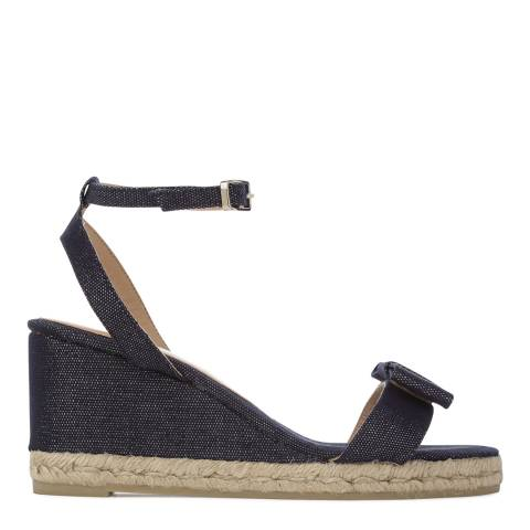 Castaner Womens Navy Denim Bibi Wedge Espadrilles