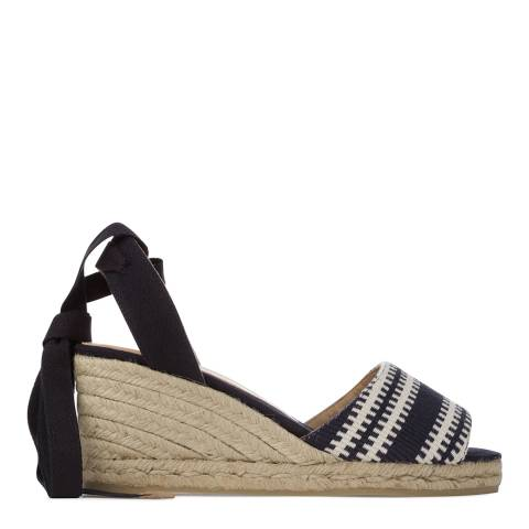 Castaner Womens Navy Pattern Wedge Espadrilles