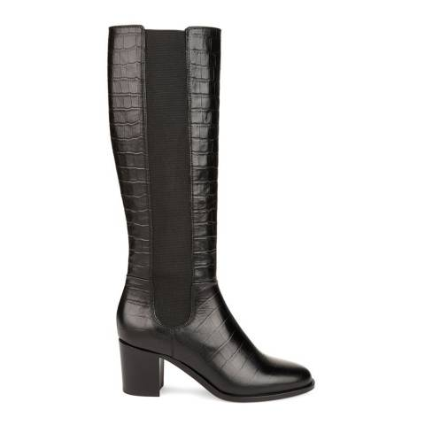 Hobbs London Black Leather Croc Lillie Long Boots