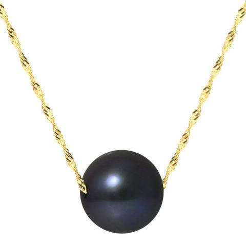 Just Pearl Black/Yellow Gold Pearl Necklace