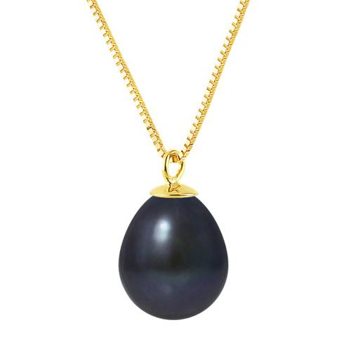 Just Pearl Black Pearl Yellow Gold Necklace
