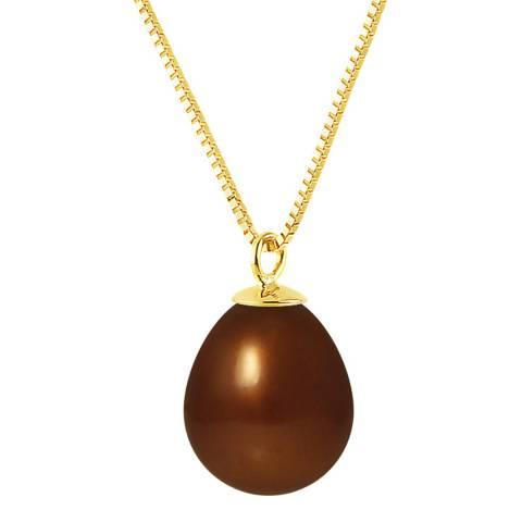 Just Pearl Brown/Gold Pearl Yellow Gold Necklace