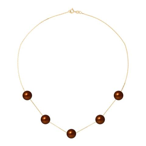 Just Pearl Brown/Gold 5 Pearl White Gold Necklace
