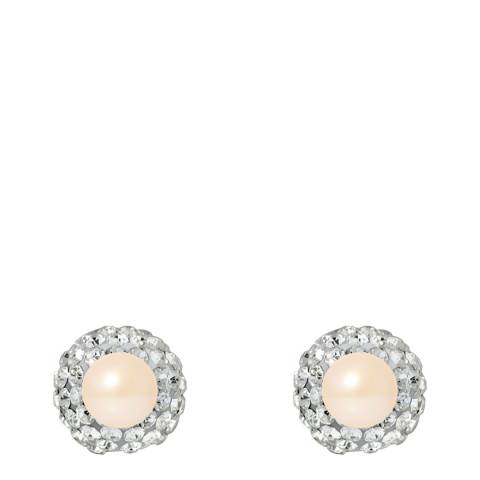 Mitzuko Pink Double Face Pearl And Crystal Earrings