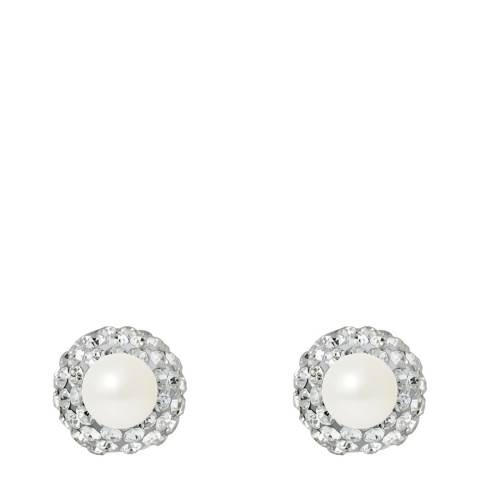 Mitzuko White Double Face Pearl And Crystal Earrings