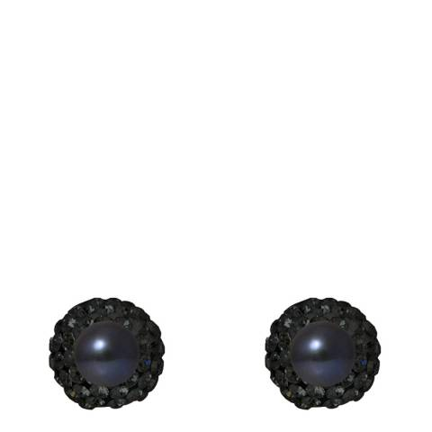 Mitzuko Black Double Face Pearl And Crystal Earrings