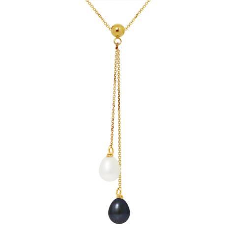 Mitzuko White/Black Double Pearl Yellow Gold Necklace