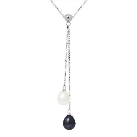 Mitzuko White/Black Double Pearl White Gold Necklace