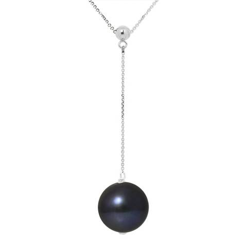 Just Pearl Black Pearl Tie White Gold Necklace