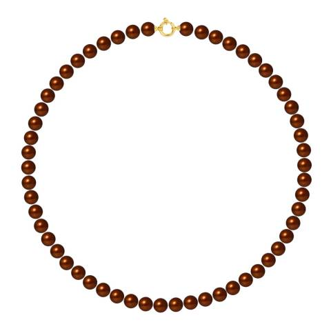 Mitzuko Gold/Brown Pearl Yellow Gold Choker Necklace