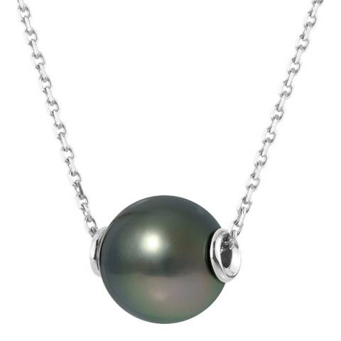 Just Pearl Black Pearl White Gold Necklace