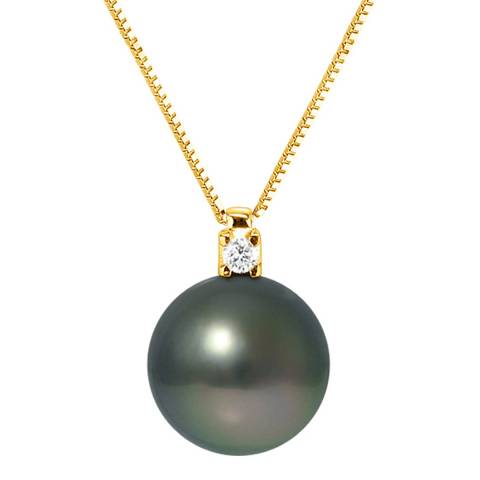 Just Pearl Black Pearl and Diamond Yellow Gold Necklace