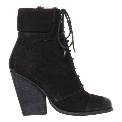 Leon Max Collection Black Distressed Suede Remix Lace Up Bootie