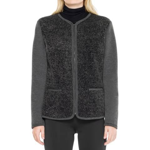 Max Studio Charcoal Sporty Bonded Jersey Faux Fur Zip Jacket
