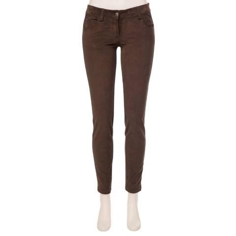 Max Studio Dark Brown Slim Leg Pocket Trouser