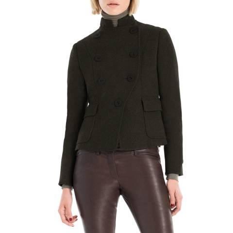 Max Studio Dark Green Wool Flannel Tailored Jacket