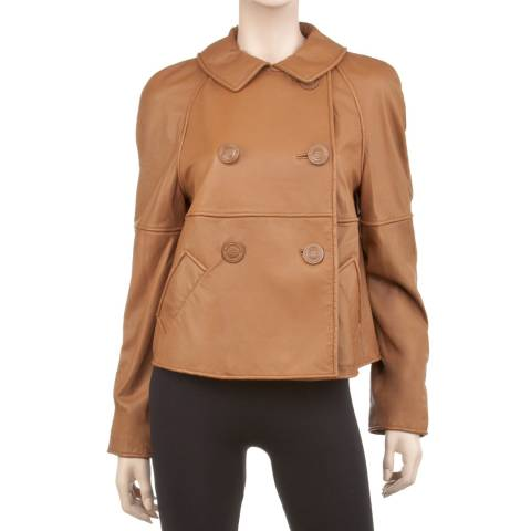 Max Studio Camel Washed Lamb Leather Jacket