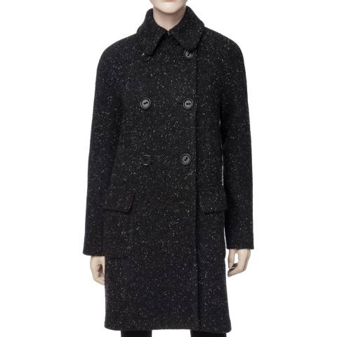 Leon Max Collection Black Tweed Double-Breasted Wool Blend Coat