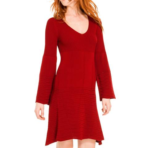 Leon Max Collection Wine Red Flared Sleeved Dress