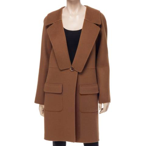 Leon Max Collection Camel Knee Length Wool Coat
