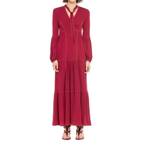 Leon Max Collection Wine Red Tie Neck Dress