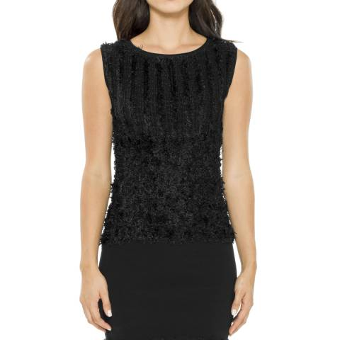 Leon Max Collection Black Textural Knitted Dress