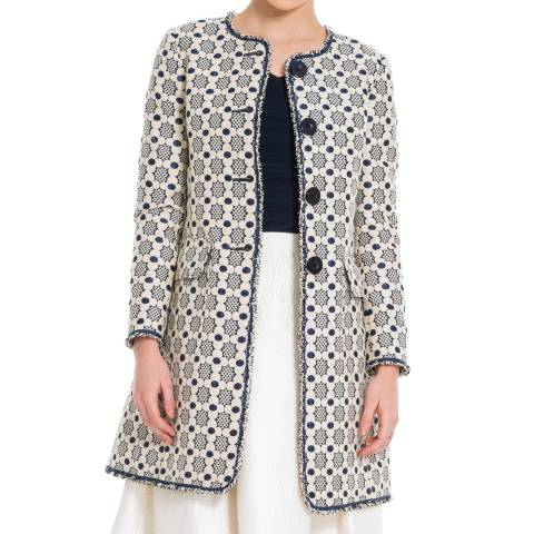 Leon Max Collection Navy/Beige Floral Jackquard Coat