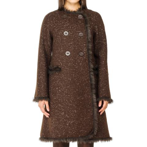 Leon Max Collection Brown Tweed Faux Fur Trim Wool Coat